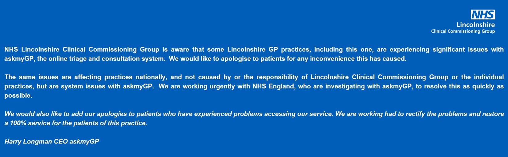 We are currently experiencing problems with AskMyGP. Please bear with us whilst this is resolved. We apologise for any inconvenience caused.